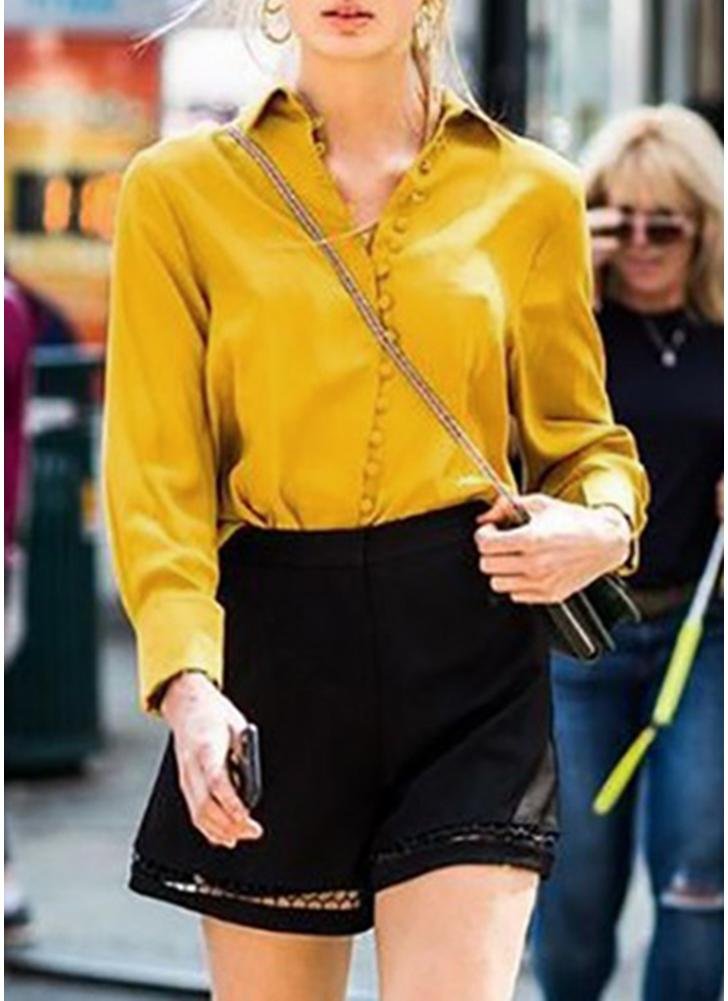Solid Turndown Collar Long Sleeve Button Front Casual Blouse