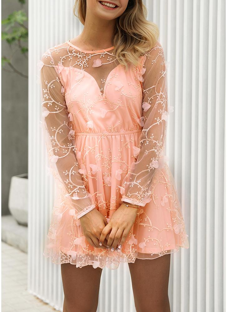 Lace Sheer Mesh Embroidery Appliqué Dress O-Neck Long Sleeves Mini Dress