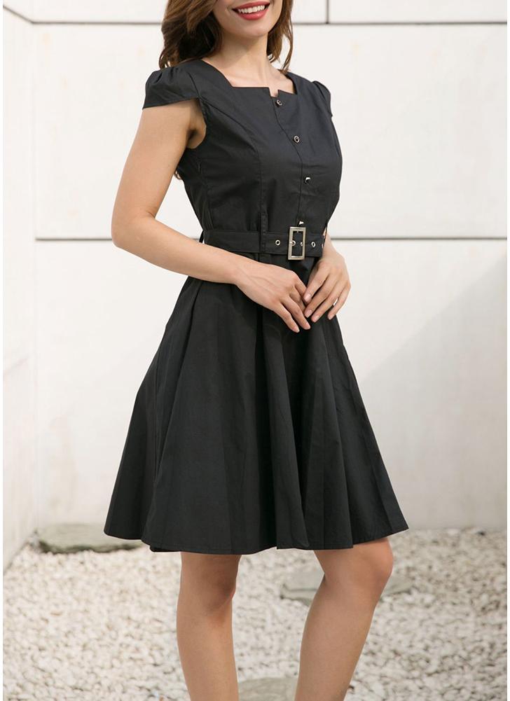 Женщины Элегантные пуговицы Плиссированные юбки Midi талии Пояс OL платье