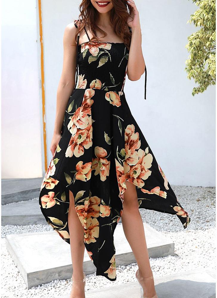 Боо Цветочная печать Платье без рукавов Платье Нерегулярное платье Hem Midi