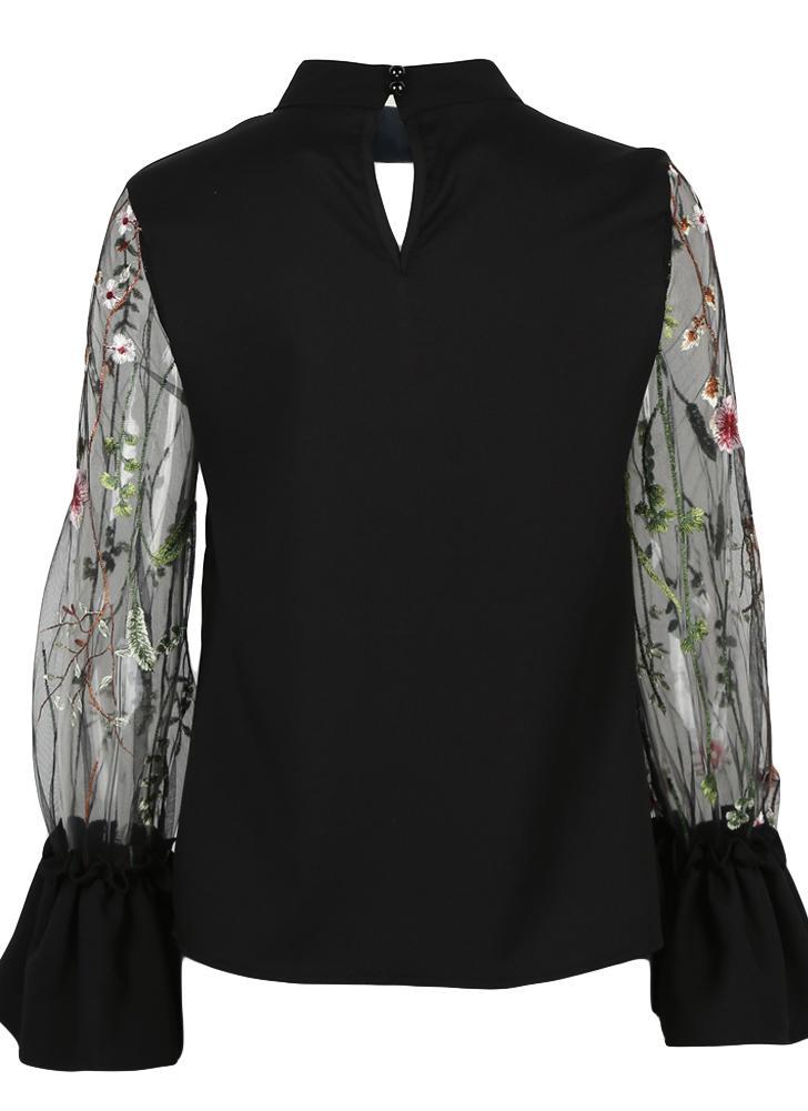 Blusa bordada floral de la blusa de las mujeres escarpias Camisa de verano Streetwear