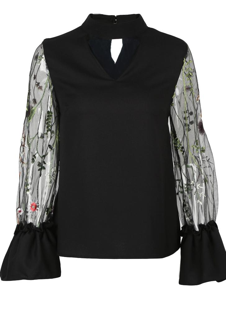 Women Sheer Mesh Floral Embroidery Blouse Choker  Summer Shirt Streetwear