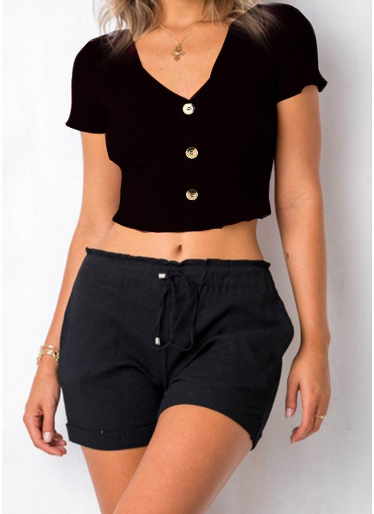 Women Knitted Cropped Top Ribbed Short Sleeves Buttons Front Casual Tops Blouse