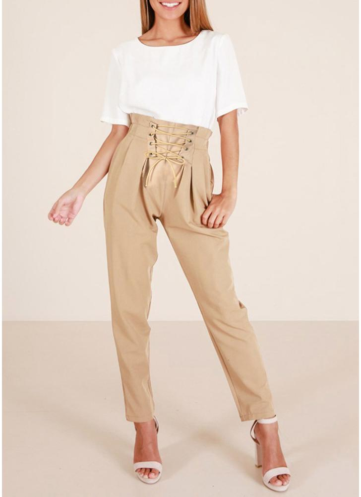 Women Pencil Pants Lace Up Front Side Pockets Ruched  Summer Trousers