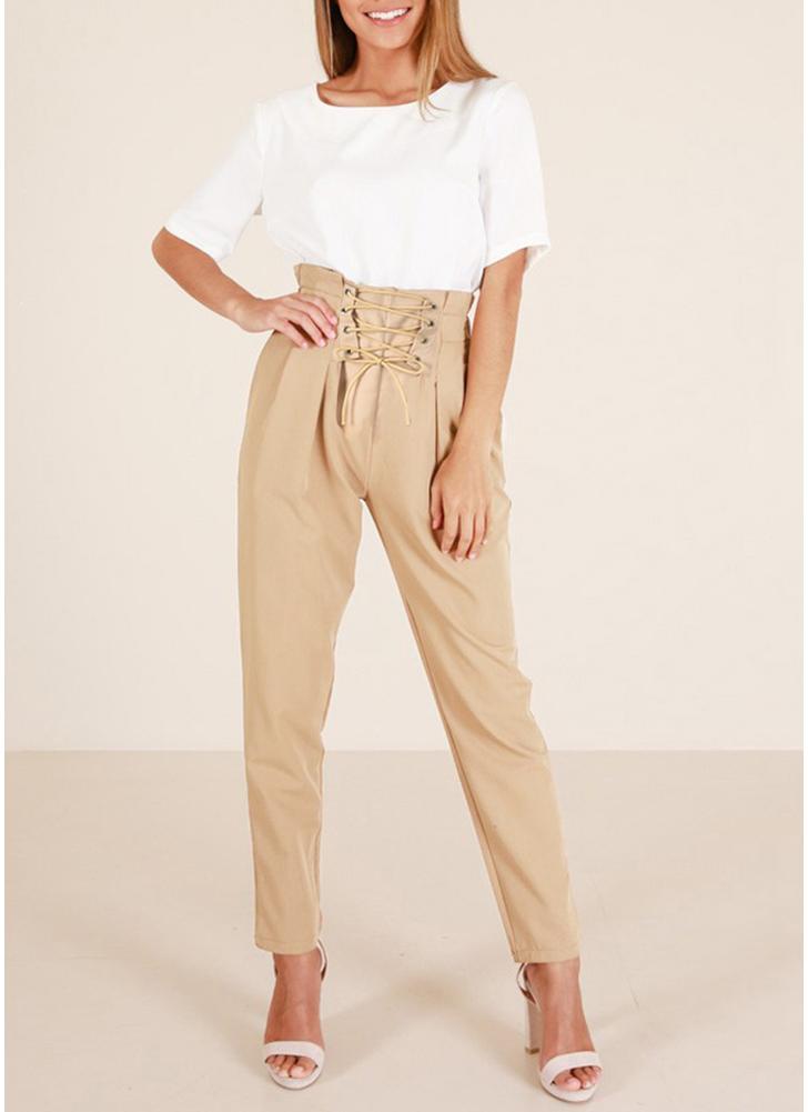 Pantaloni da donna con laccetti laterali in pizzo con tasche laterali arricciate