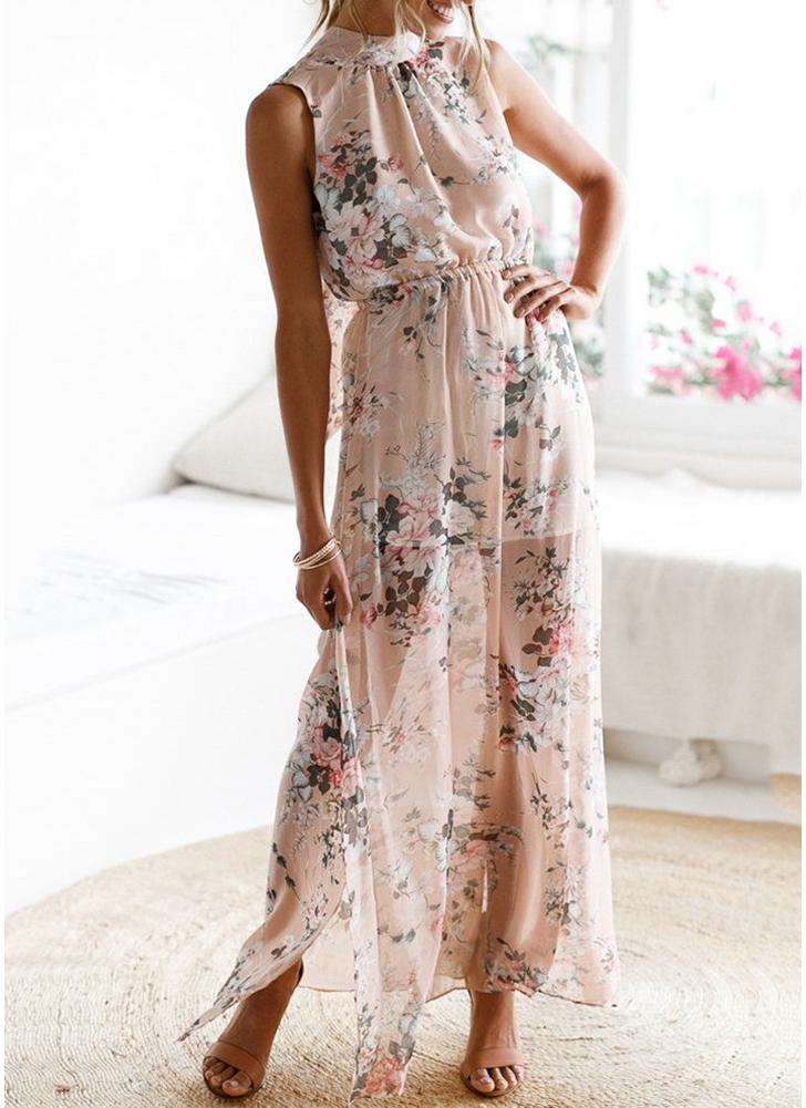Women Boho Floral Long Split Dress Summer Casual Beach Maxi Dress
