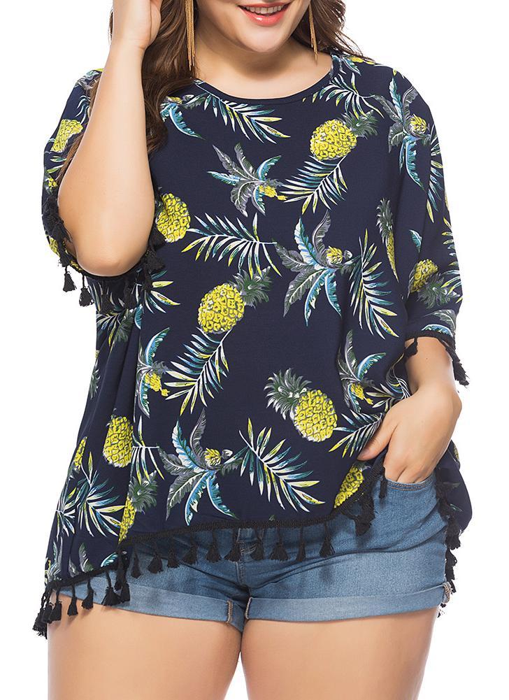 Blusa de gasa de las mujeres más tamaño Borlas de impresión de la piña Tops de la camiseta ocasional con flecos
