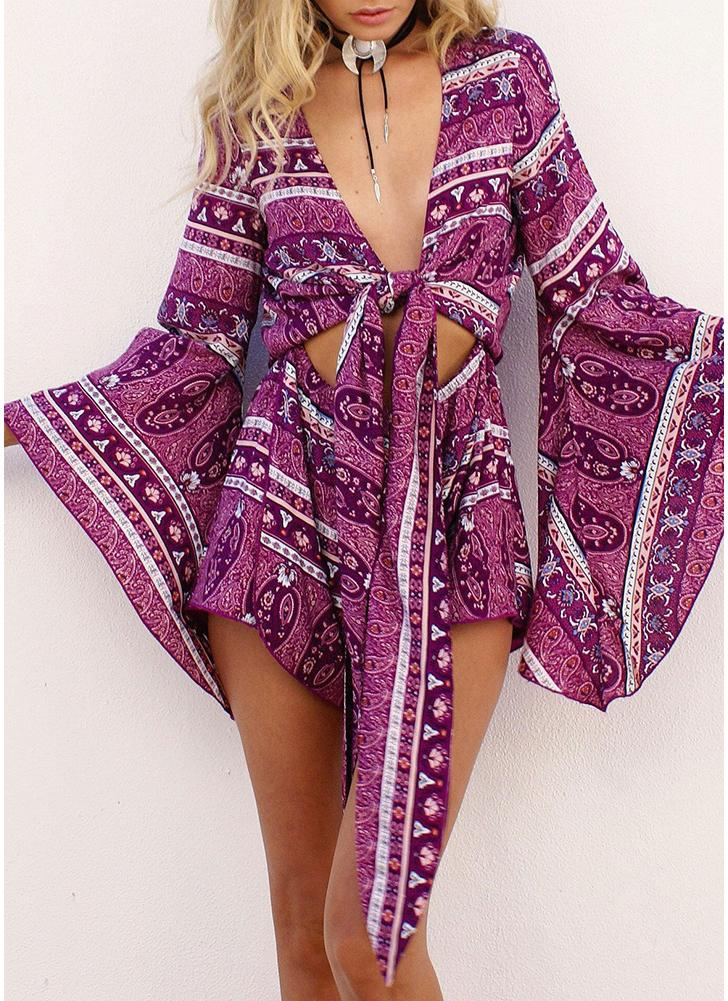 Women Playsuit Floral Paisley Print  Tie Cut Out  Beach Holiday Wear Jumpsuit