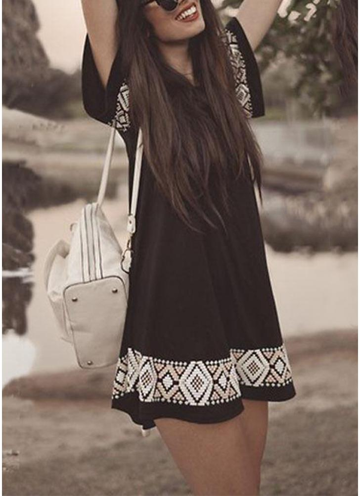 Boho Black Мягкие геометрические узоры Блузка Swing A-Line Mini Dress