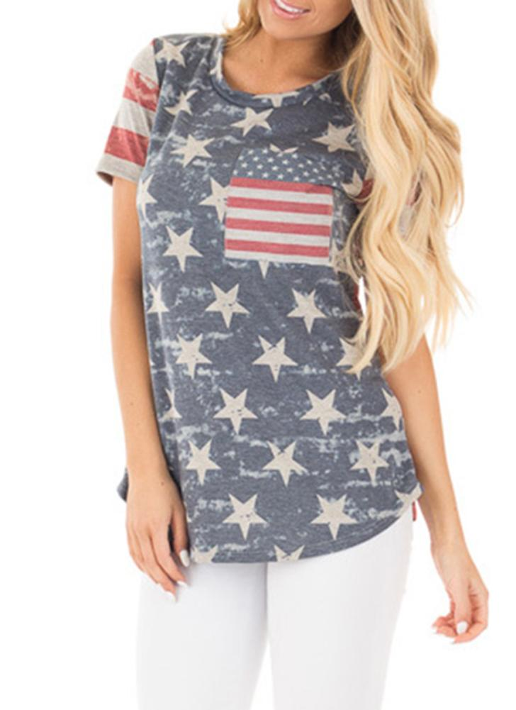 American Flag Start Striped Print O-Neck Short Sleeves Irregular Casual Top