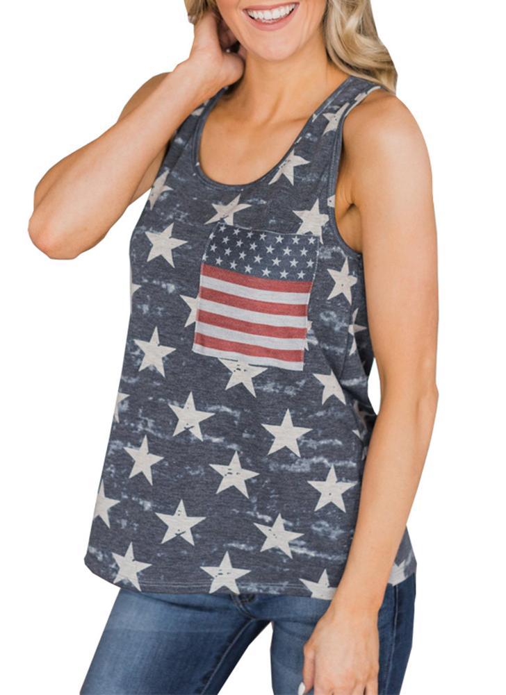 Жилет с американским флагом Начните полосатую печать O-образным вырезом без рукавов Backless Casual Loose Tank Top