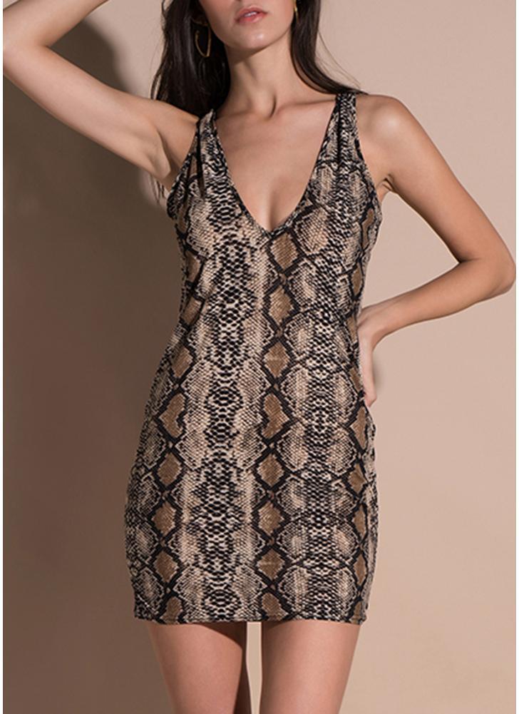 Festa de pele de cobra V profundo vestido de decote em v sem mangas Bodycon Mini vestido
