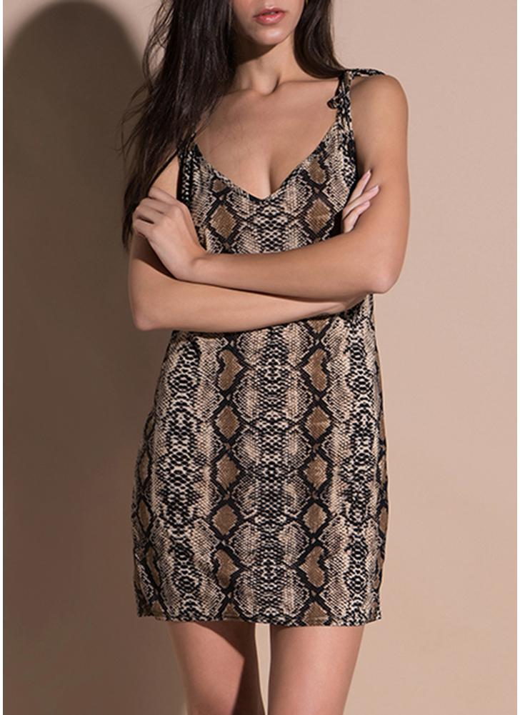 Party Snake Skin V Neck Robe à bretelles sans manches Bodycon Mini Dress