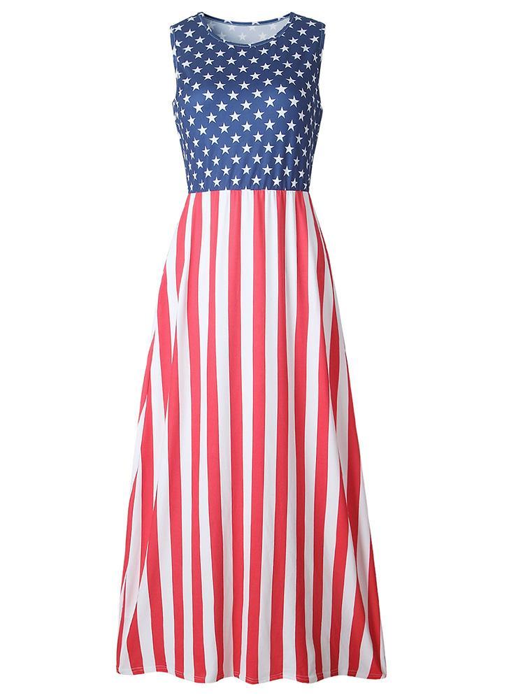 Casual Stars and Stripes Sleeveless Dress Elastic Waist Side Pockets Tank Maxi Dress