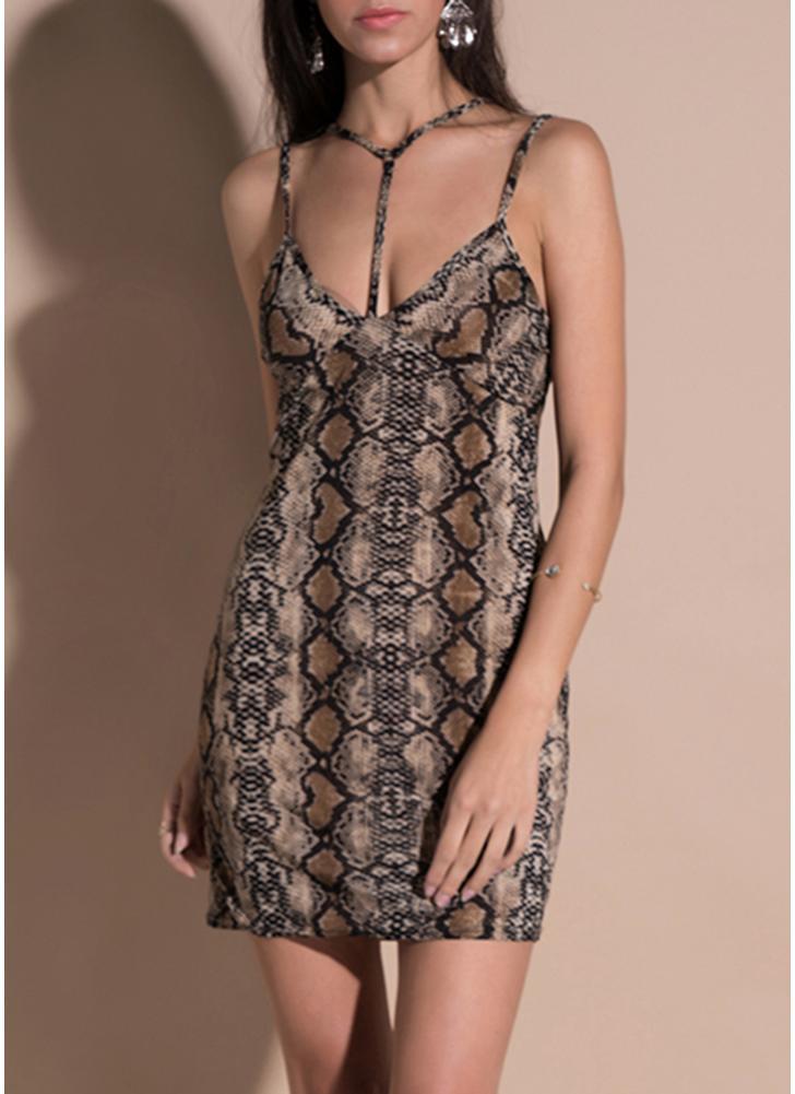 Leopard Halter Neck Спагетти ремень Юбка Backless Bandage Bodycon Mini Dress