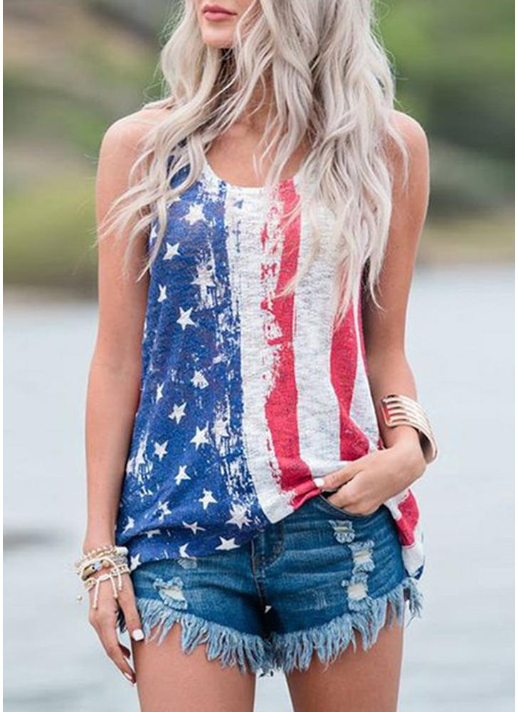 American Flag Star Striped Print Casual Sleeveless Vest T-shirt Top