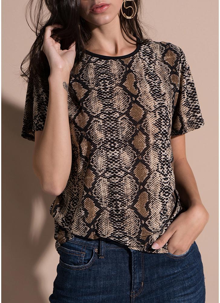 T-shirt à manches courtes imprimé léopard à manches courtes