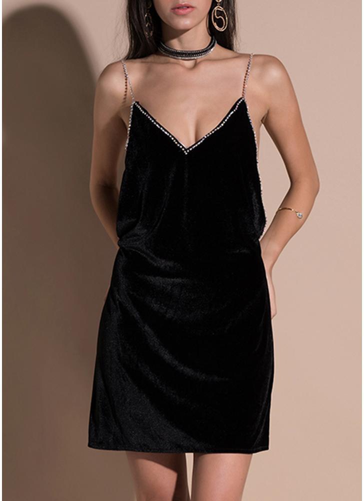 Party Velvet Deep V Neck Sleeveless Dress Backless Mini Prom Cocktail Dress