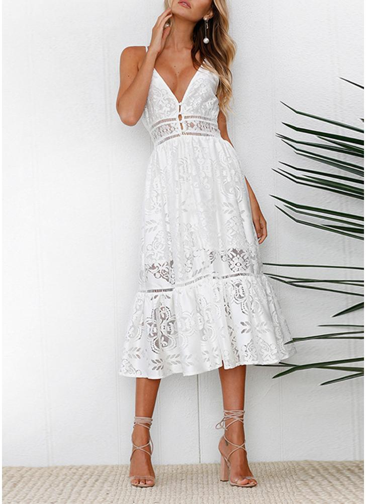 Boho Lace Deep V Neck Skirt Spaghetti Strap Backless Maxi Dress
