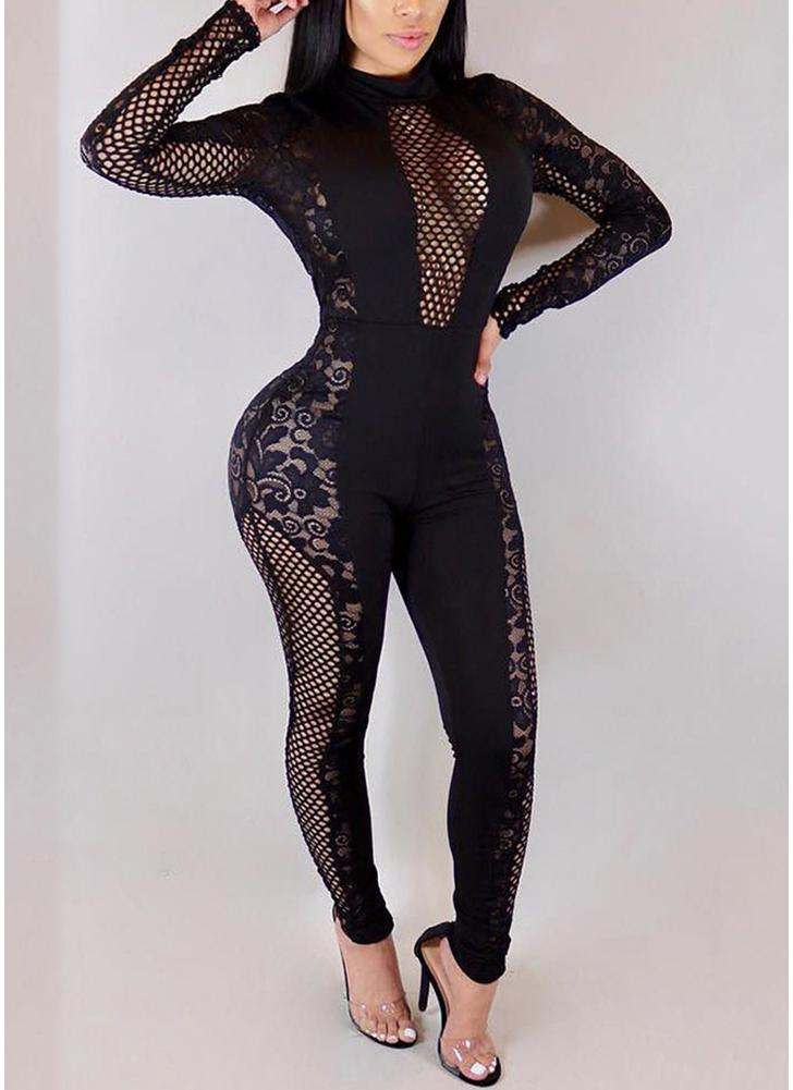 Fishnet Hollow Out Lace High Neck Long Sleeve Bodycon Playsuit