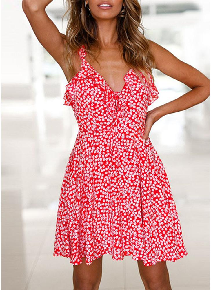 l rojo Falda sin espalda con cuello en V de volantes florales de ...