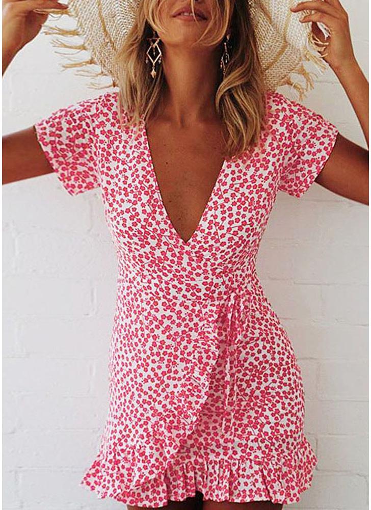 Boho manches courtes Floral Deep V Jupe volants Hemline Summer Beach Mini robe