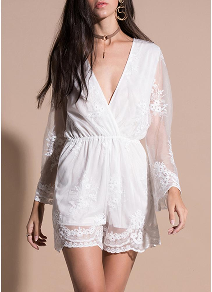 Crochet Lace Long Sleeves Deep V-Neck Elastic High Waist Elegant Romper Body Suits
