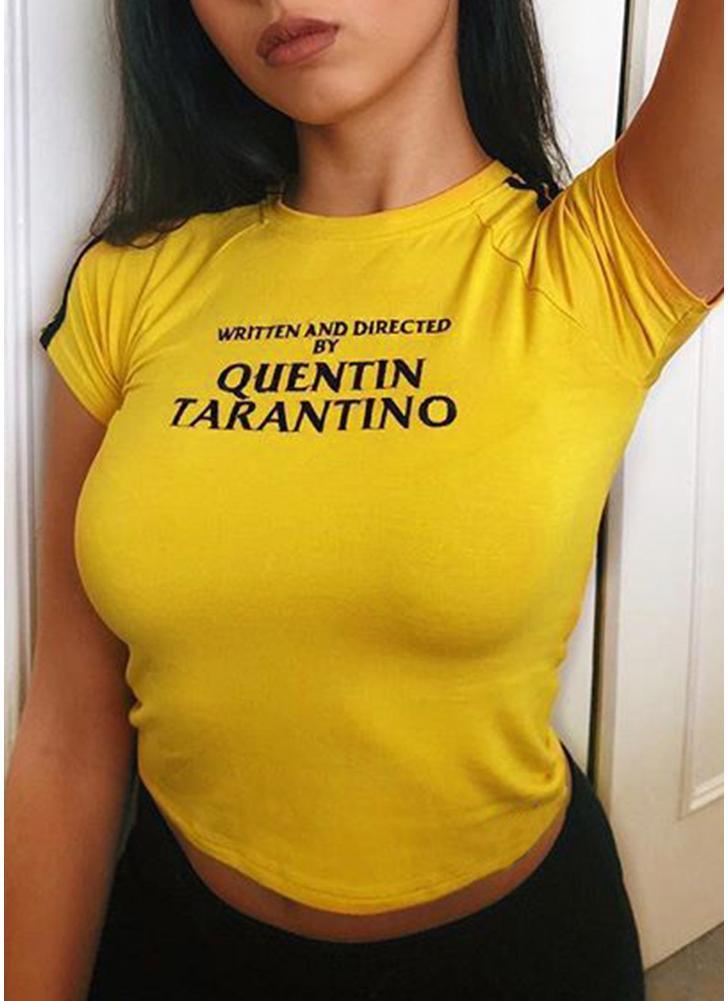 Frauen mit kurzen Ärmeln T-Shirt O Hals Raglan Letters Print