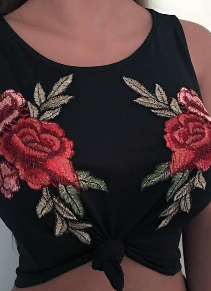 Sexy  Vest Floral Embroidery O-Neck Sleeveless  Women's Crop Top