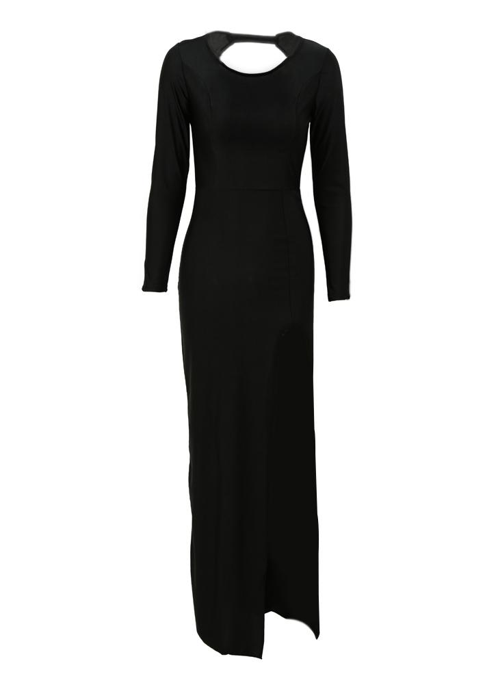 Vintage Long Sleeve Black Backless Split Maxi Dress