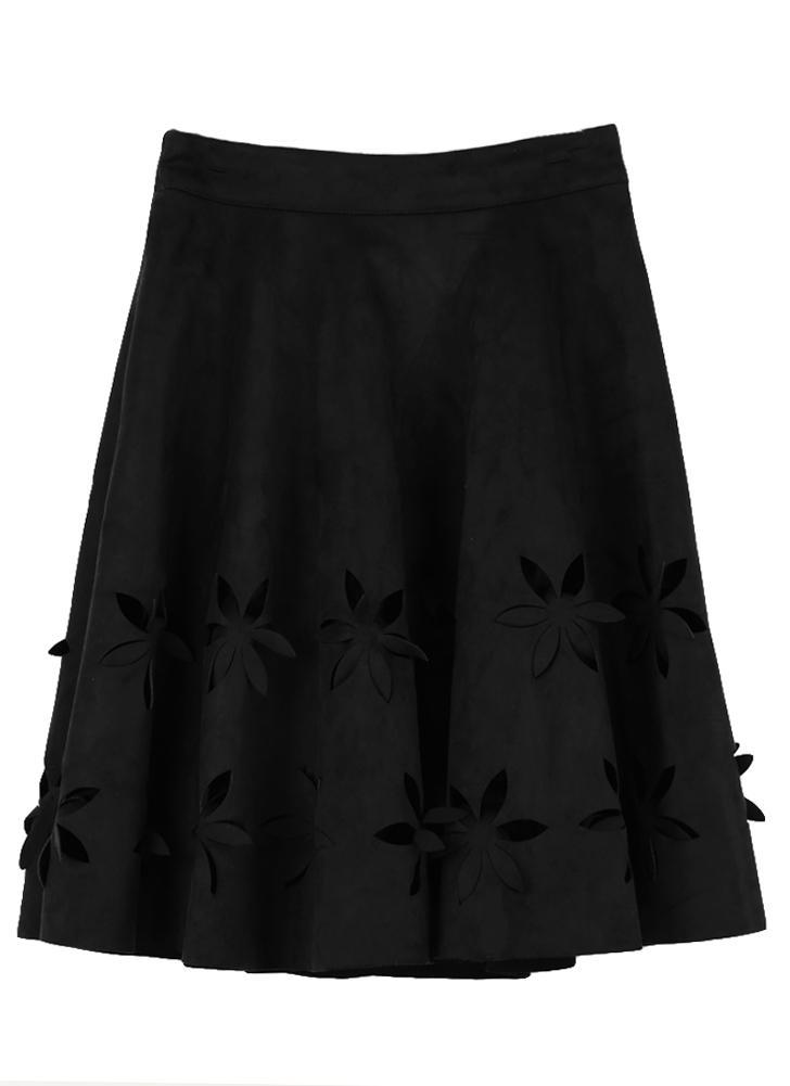 Nueva moda mujer gamuza falda hueco flor cintura alta con pliegues Vestido Tutu Falda Negro/Borgoña/marrón