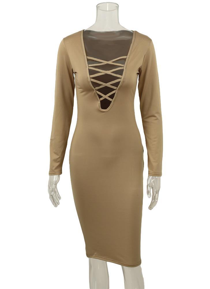 Nuova moda donna abito immergersi V scollo incrociato cinghie manica lunga  anteriore Fit Bodycon Sexy Midi 3005c75d4e5