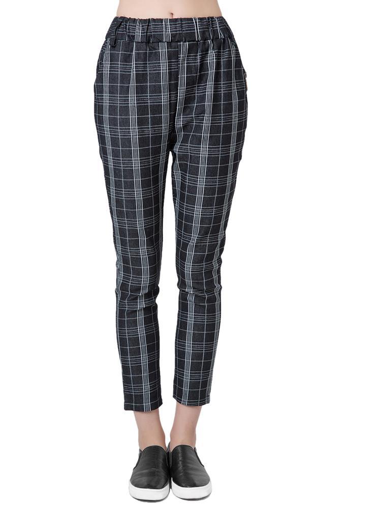 Nueva moda negro las mujeres harén pantalones Check cuadros impresión  elástico en la cintura Causal pantalones 842dcb36c2fc