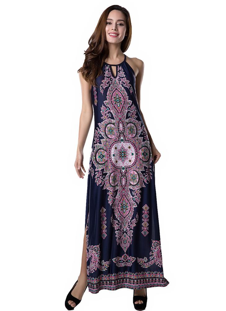 dunkelblau l Sexy Frauen lange Kleid Floral Print hohlen heraus fiel ...