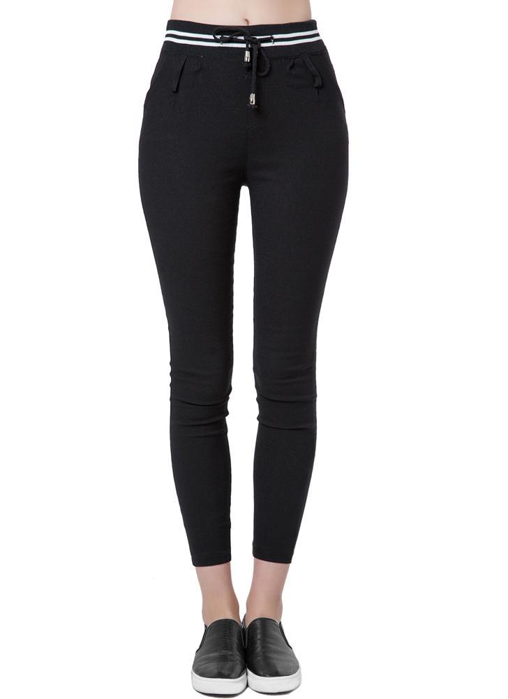 Neue Mode Frauen lässig Hose elastische Taille Drawstring schlanken  Bleistift Pants Hose schwarz weiss 42d4dc6a19