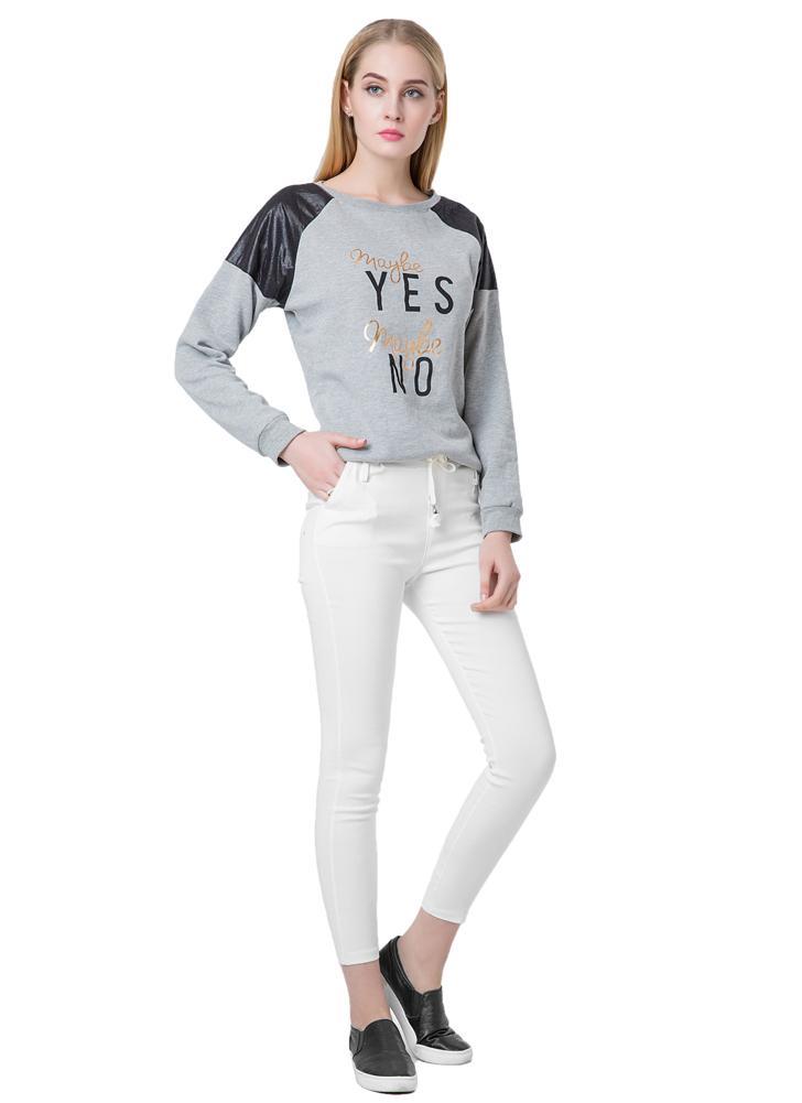 Nueva moda mujer pantalones casuales cintura elástico Lazo Slim lápiz pantalones pantalones negro