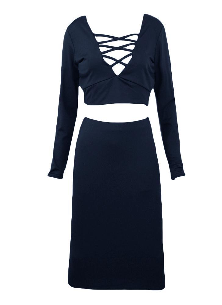 Tops de encaje sexy mujer vestido de dos piezas cruce V profundo manga larga de cuello Bodycon Mini falda