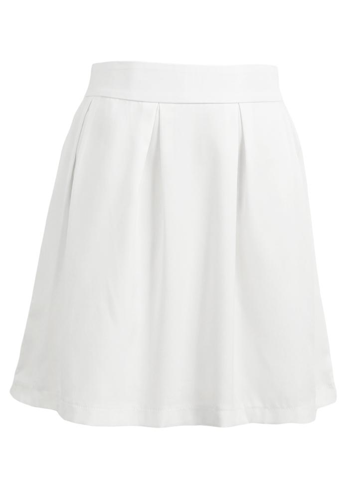 Новая мода женщин мини-юбка твердых плиссированные подвергаются молния назад крепления случайные юбка белая