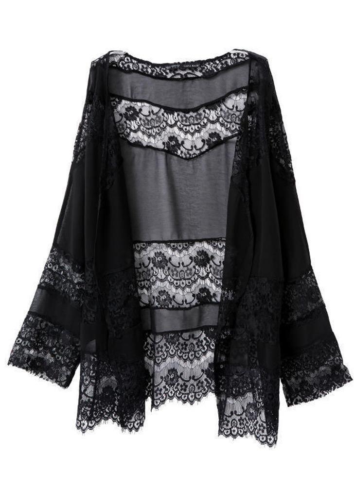 l black Women Chiffon Cardigan Kimono - Chicuu