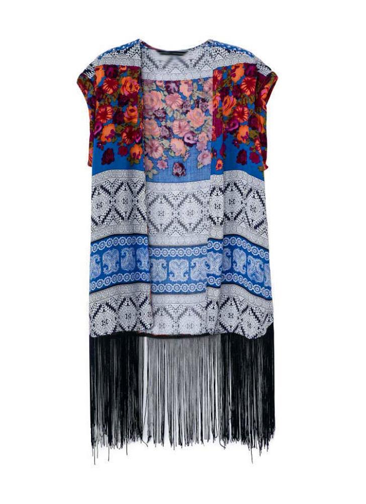 Fashion Loose Kimono Ethnic Boho Floral Print Sleeveless Tassel