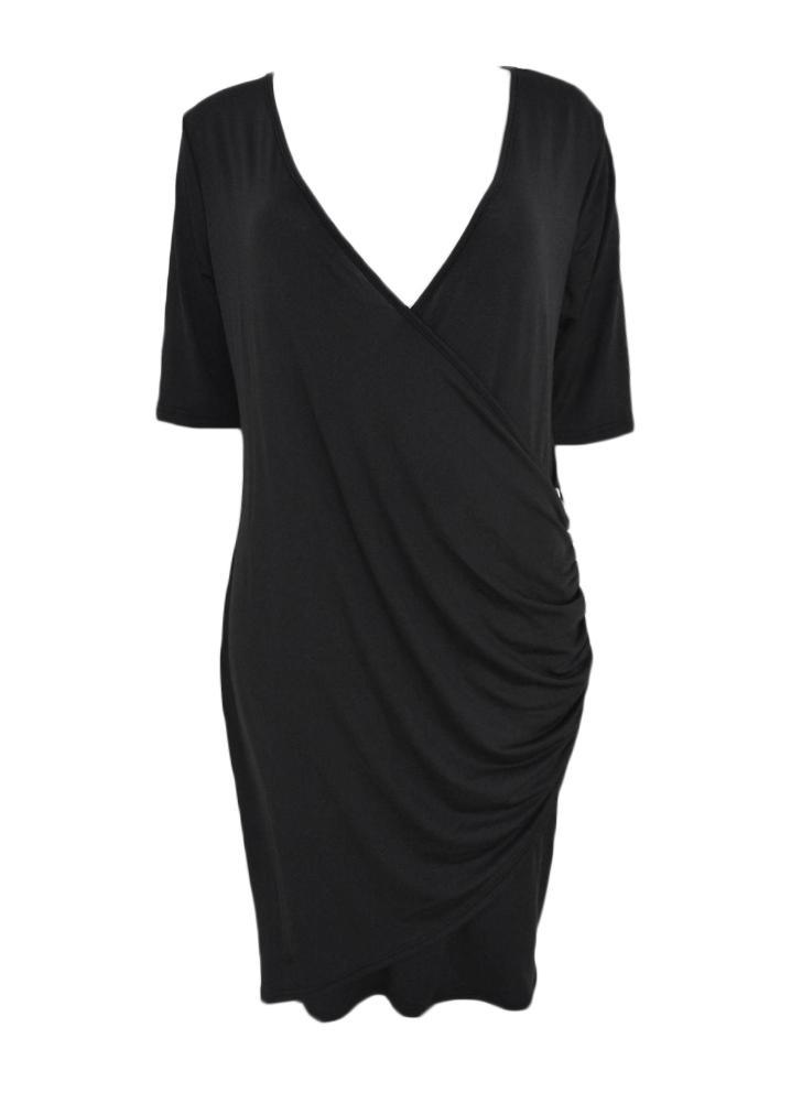 3342c1d843eb Neue Mode Frauen Plus Size Kleid tiefem V-Ausschnitt Seite Reißverschluss  halbe Ärmel Bodycon Kleid
