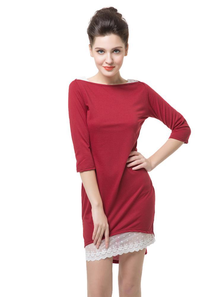 Slash Neck Half Sleeve Lace Decoration Irregular Hem Slim Red Dress