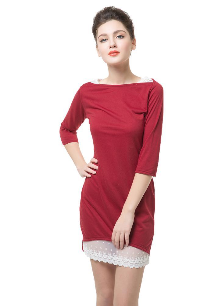 Новая мода женщин платье слэш шеи локтя украшения кружева подол нерегулярные сексуальный тонкий красный