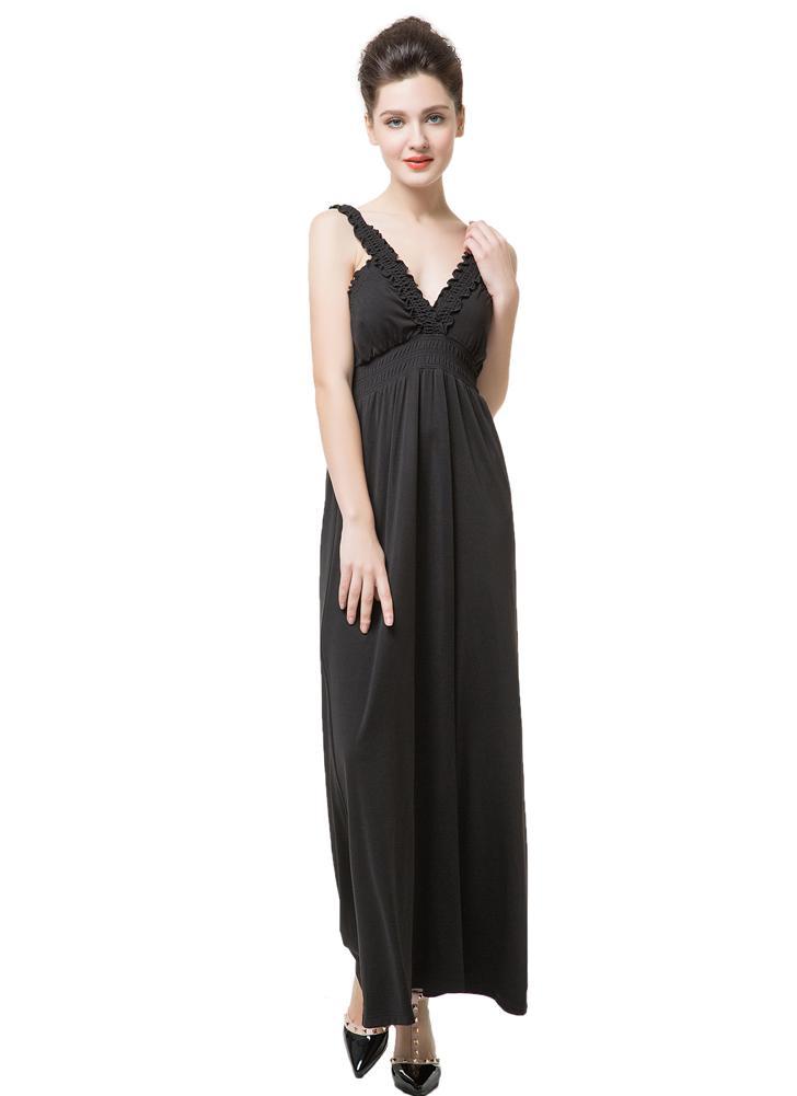 Nouveaux vêtements femme sans manches Robe col v profond volant robe longue Sexy dos nu noire