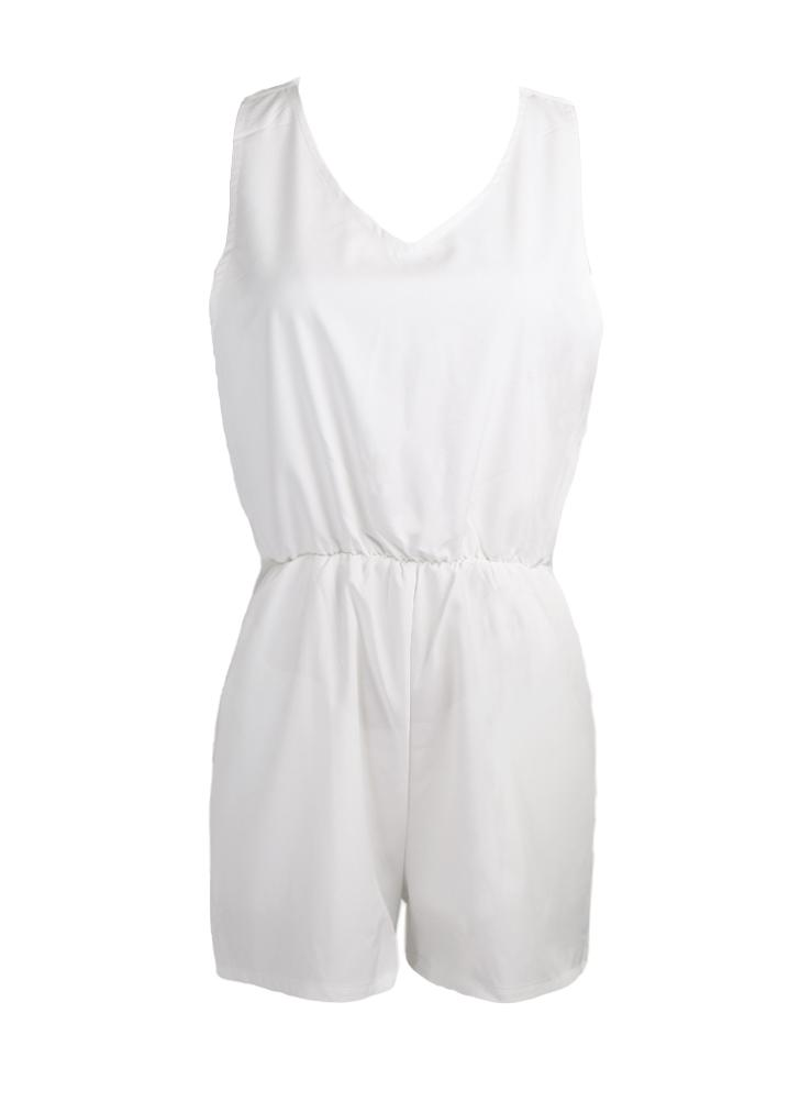 Women Jumpsuit Casual Playsuit Rompers Culotte White