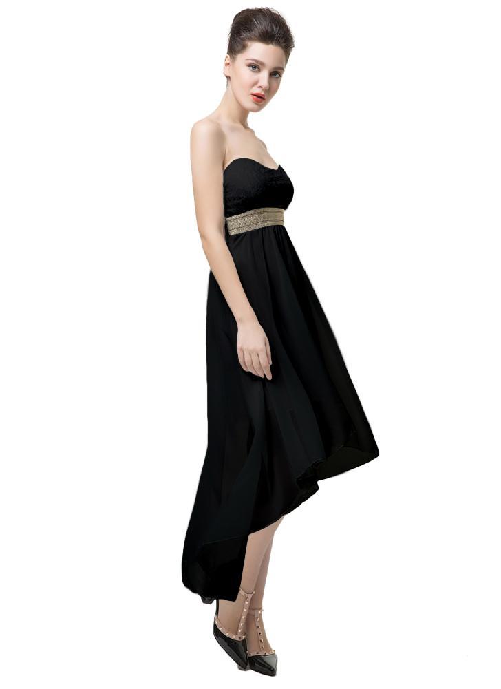 Nouveau mode femmes robe dentelle bustier haut ceinture sans épaule ourlet dos irrégulière ouvert partie Sexy robe