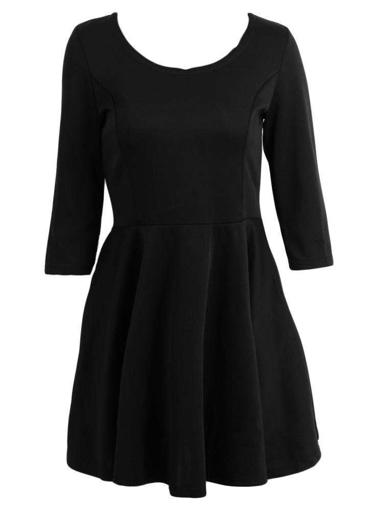 Мода женщин платье O-шеи 3/4 рукав назад молния сплошной цвет A-выстроились платье мини-черный/красный/серый