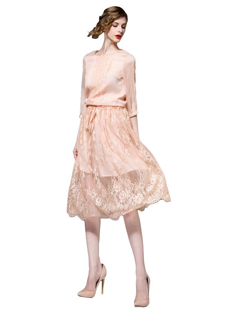 Neue elegante Damen Chiffon Kleid Lace Spleißen Belted Soft Futter O-Neck 3  4 c8a4fbd68b