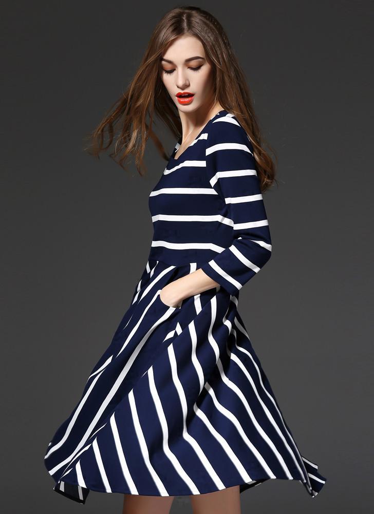 l blau Neue Mode Frauen kleiden gestreiften Print Taschen große Hem ...
