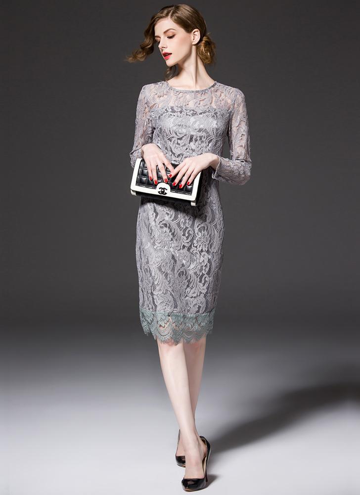 grau l Neue elegante Frauen Spitze Kleid Höhlen Rundhalsausschnitt ...